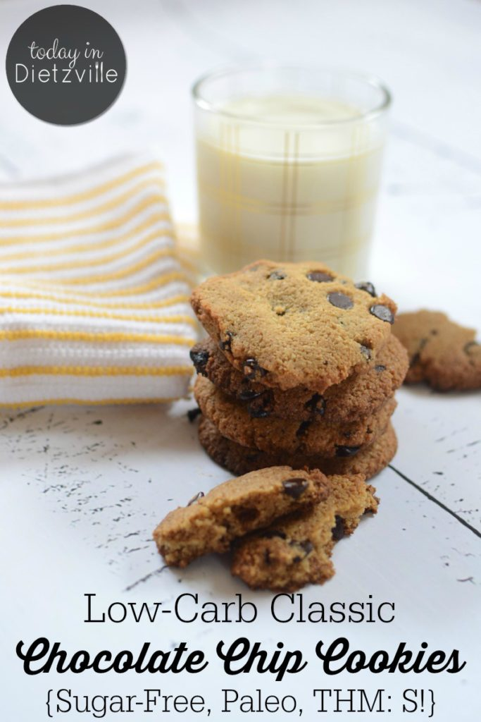 Low-Carb Classic Chocolate Chip Cookies {Sugar-Free, Paleo, THM:S}