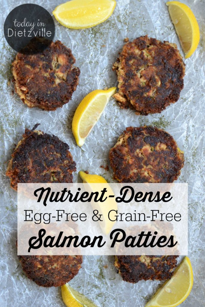 Nutrient-Dense Egg-Free & Grain-Free Salmon Patties | Full of nutrition, a hidden veggie, and a superfood, these egg-free and grain-free salmon patties are allergy-friendly home cookin'! They're Paleo, Whole30, and GAPS Diet-friendly, too! | TodayInDietzville.com