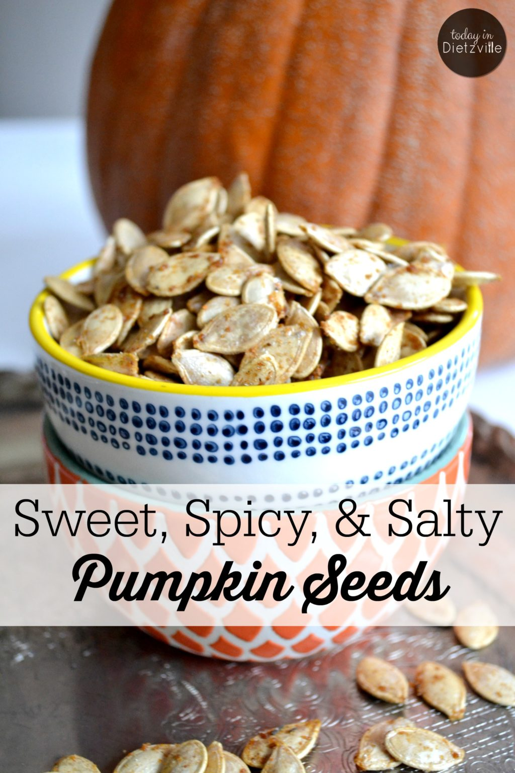 Sweet, Spicy, & Salty Pumpkin Seeds | Pumpkin seeds make an excellent, quick snack for adults and kids alike. Just a handful supplies you with a healthy dose of magnesium and immune-boosting zinc. These tasty, crispy pumpkin seeds satisfy all the cravings: a little bit sweet, a little bit spicy, and a little bit salty. | TodayInDietzville.com