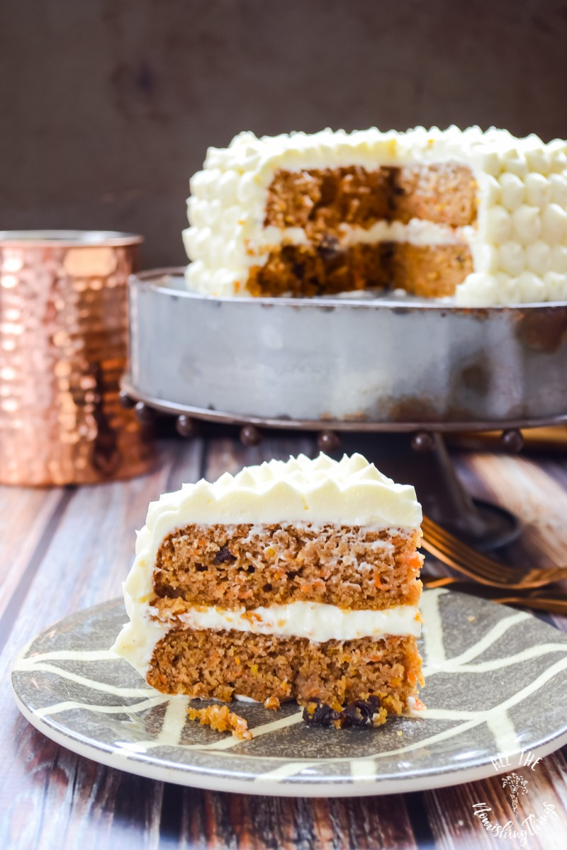 GRAIN FREE LOW CARB MAPLE CARROT CAKE W CULTURED CREAM